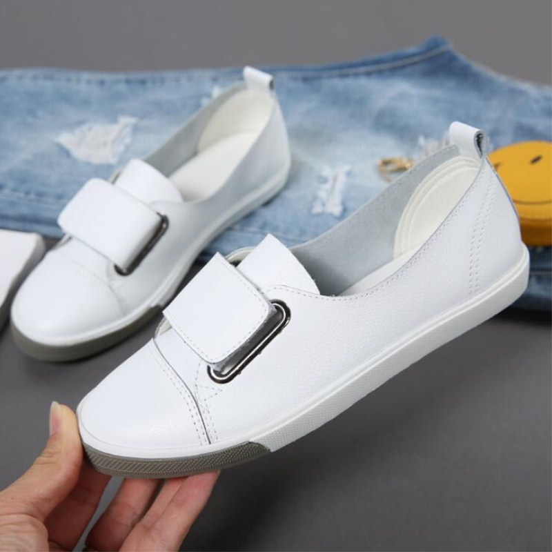Spring and Autumn Korean version of explosion proof flat breathable wild leather casual Women 39 s shoes new hot models white shoes in Women 39 s Flats from Shoes