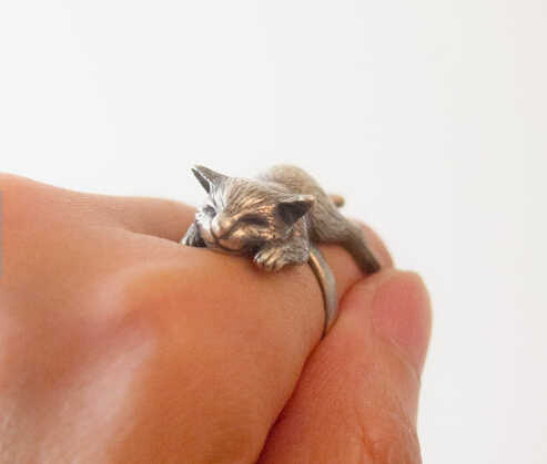 Handmade Cute Retro Kitty Sleeping Cat Ring Baby Pet Ring Sweetheart lovely Animal Ring Girl Gift Jewelry