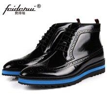 Роскошные резные человек на плоской платформе Обувь с перфорацией; туфли-оксфорды британский дизайнер лакированная кожа мужские мотоботы Martin ботильоны EC25