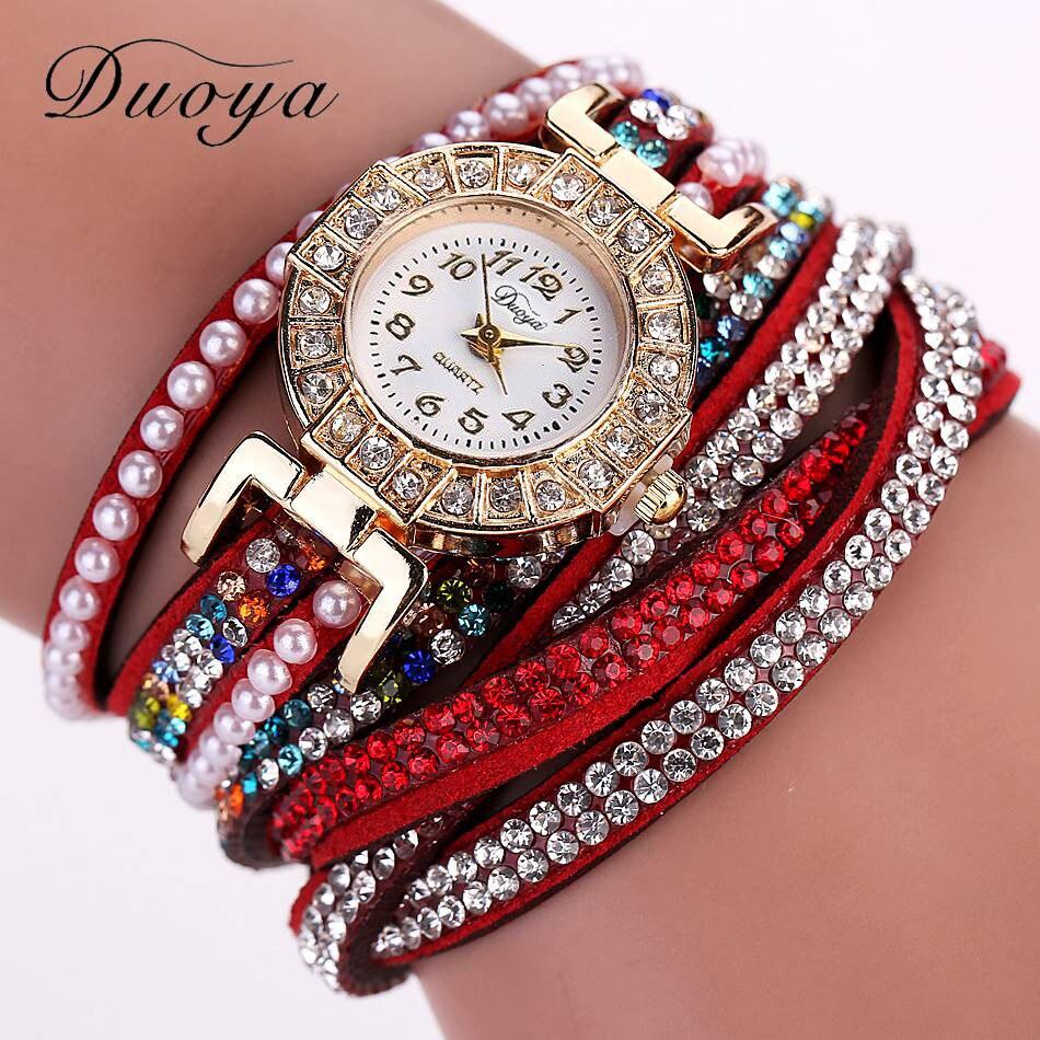 076ffa72c9d0 Duoya a estrenar mujeres perla pulsera de cuarzo cristal de diamante reloj  vestido reloj July19