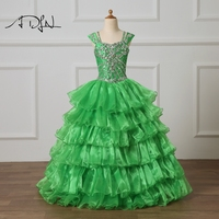 ADLN Green Flower Girl Dress Floor Length Formal Wear for Child Organza Ball Gown Beaded Kids Pageant Gown Prom Dress 2018