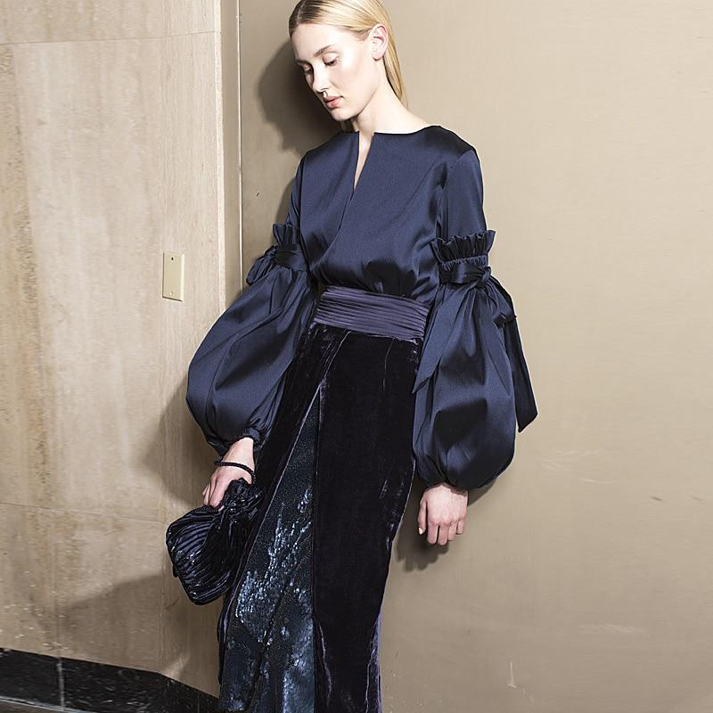 Milan Runway Designer New Fashion High Quality 2019 Spring Party Sexy Long Sleeve Top Velvet Half