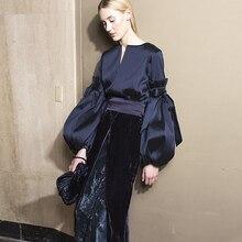 밀라노 활주로 디자이너 새로운 패션 고품질 2019 봄 파티 섹시한 긴 소매 탑 벨벳 하프 스커트 우아한 여성 세트