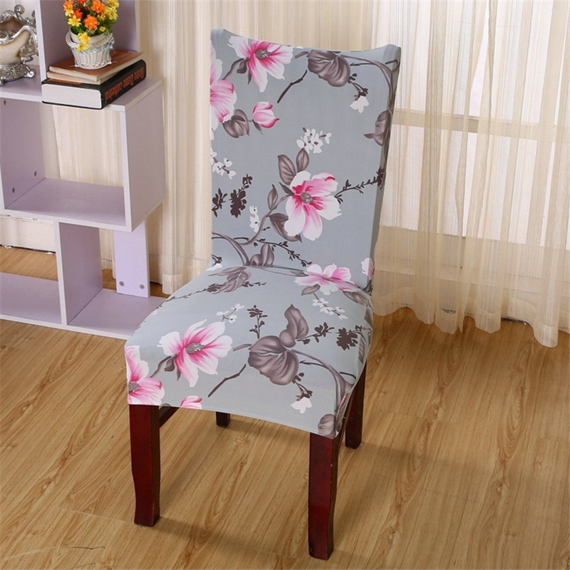 Floral print elastic cloth chair covers four leaf clover for Fundas sillas comedor zara home