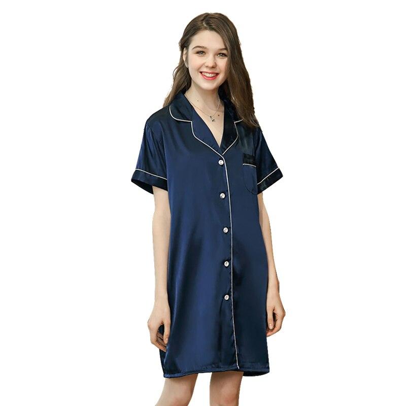 Women's   Nightgown   Night Shirts Satin   Sleepshirts   Solid Short Sleeve Faux Silk Women Bathrobe Home Dressing Gowns For Women
