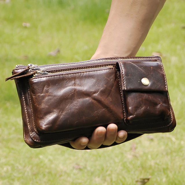 New Men First Layer Cowhide Geunine Leather Real Fanny Waist Pack Clutch Purse Chest Hip Belt Bag Multi-Purpose Travel Male