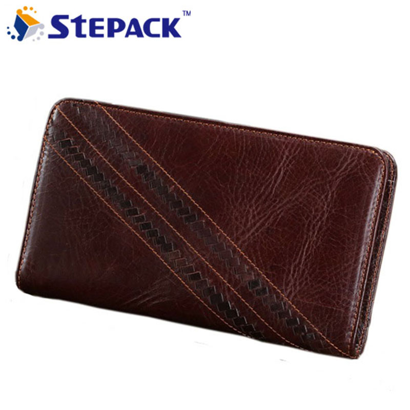 Hot Sale High Quality Genuine Leather Mens Wallet Mens Business Purse Big Capacity Clutch Bag