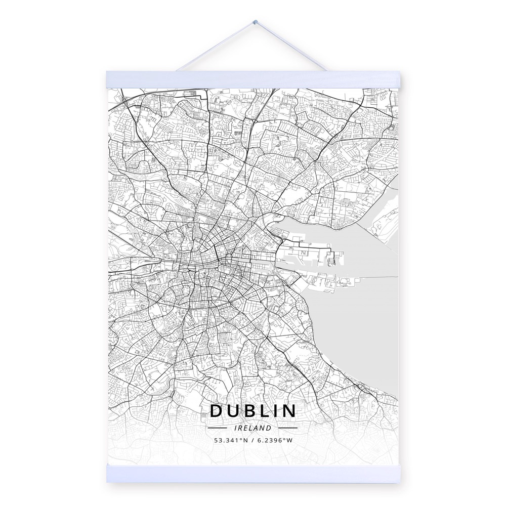 Map Of Ireland Print.Dublin Ireland City Map Wooden Framed Canvas Painting Home Decor