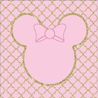 Pink Moroccan Pattern Minnie Head Gold Crown Bow baby shower backdrop Vinyl cloth Computer printed wall Background