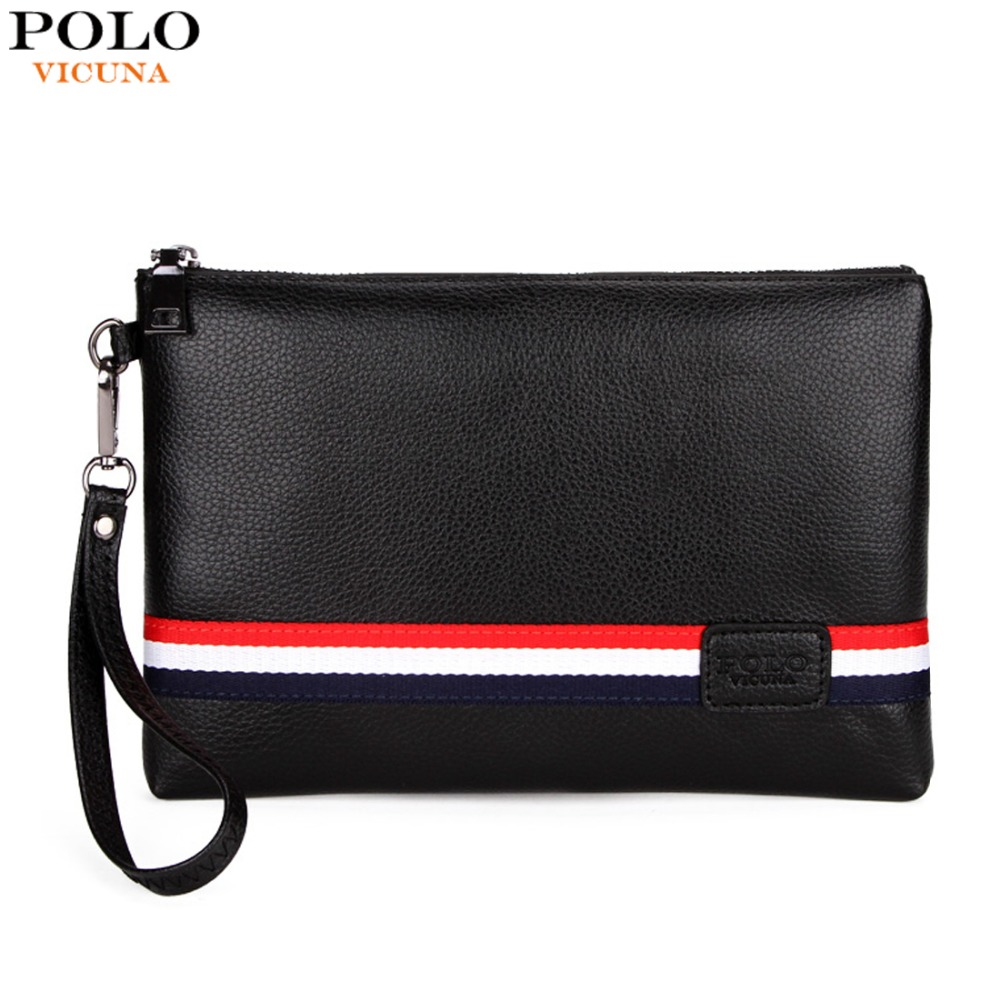 VICUNA POLO Personalized Striped Mens Clutch High Quality PU Leather Men Clutch Bags Brand Casual Large Capacity Male Wallets vicuna polo promotion famous brand handbag high quality pu leather men tote bag borse classic sewing thread design men sling bag