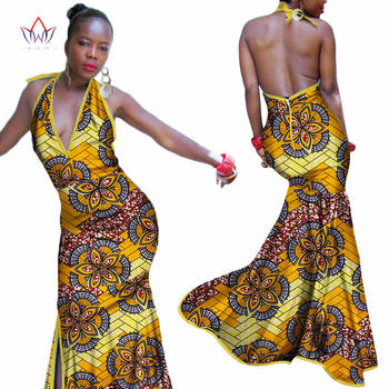 New African Print Dresses for Women Bazin Riche Patchwork Sling Deep V-neck Long Dresses Dashiki Women African Clothing WY3418