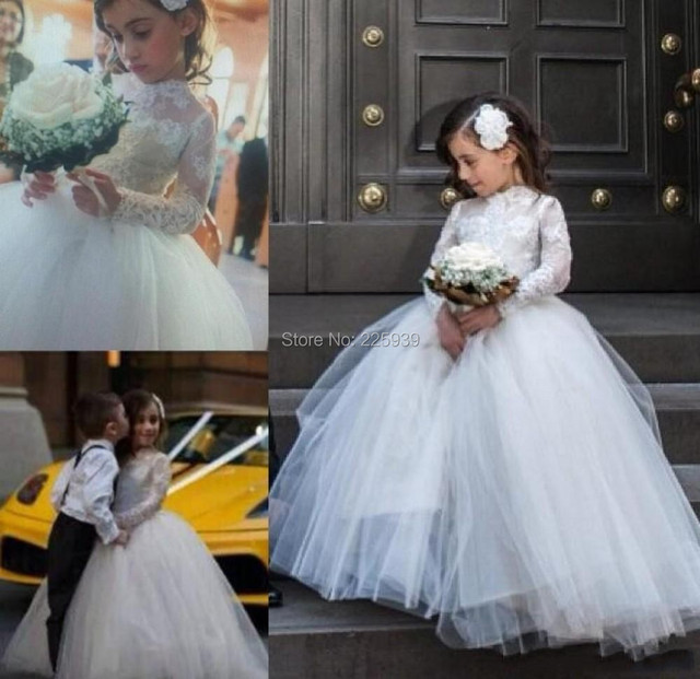 ea59af858 Perfect Ball Gown Flower Girl Dresses Formal For Wedding Party Long Gowns  Beautiful Lace Long Sleeves Little Girl Dresses