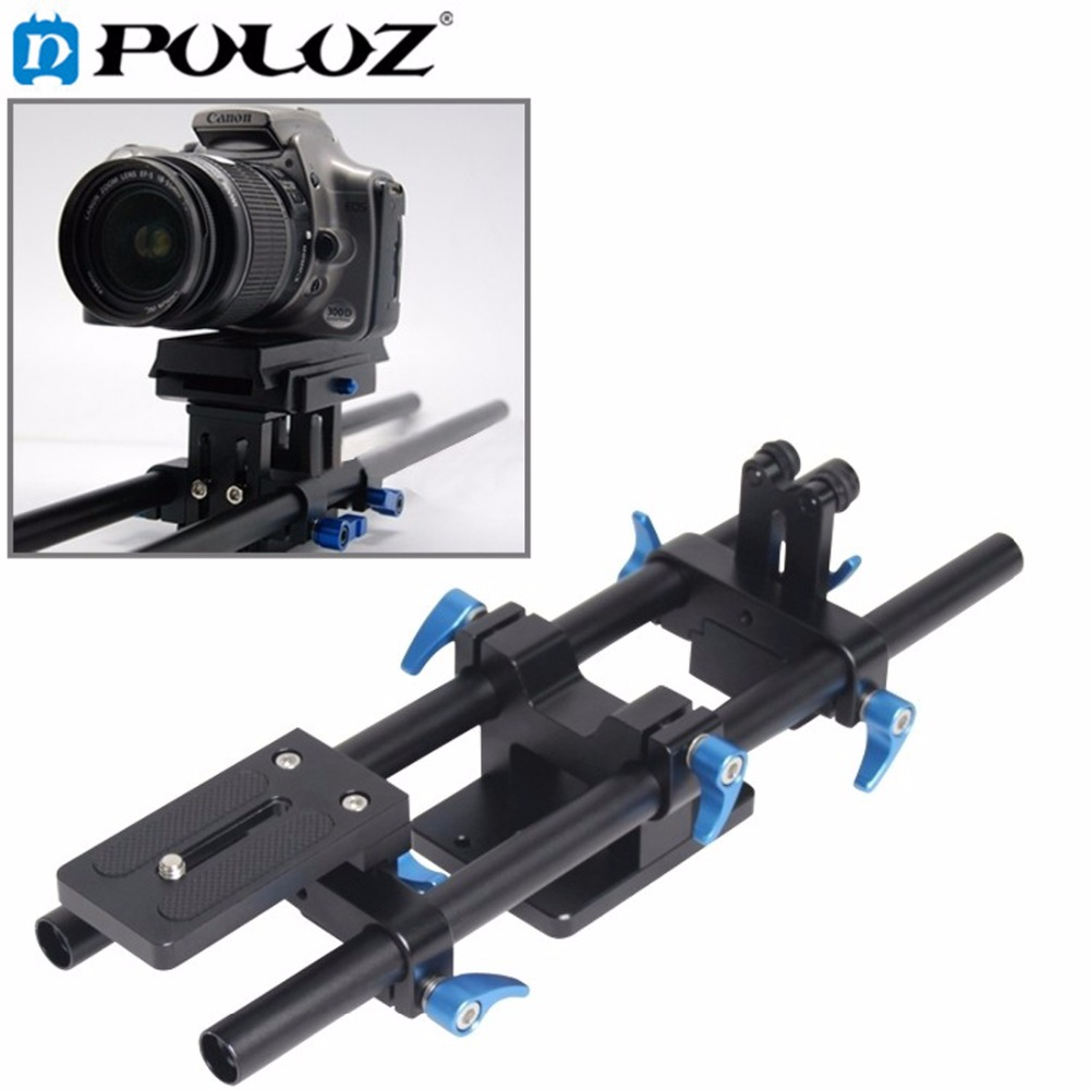 PULUZ 15mm Rail Rod Support System Track Rail Slider Baseplate with 1/4 Screw Quick Release for CANON / DSLR Cameras
