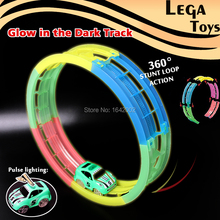 Glow in the Dark Bend a Path Toy Track Accessory  360 stunt Loop Clear race track Vehicle Playsets With Light Up Stunt Toy Car