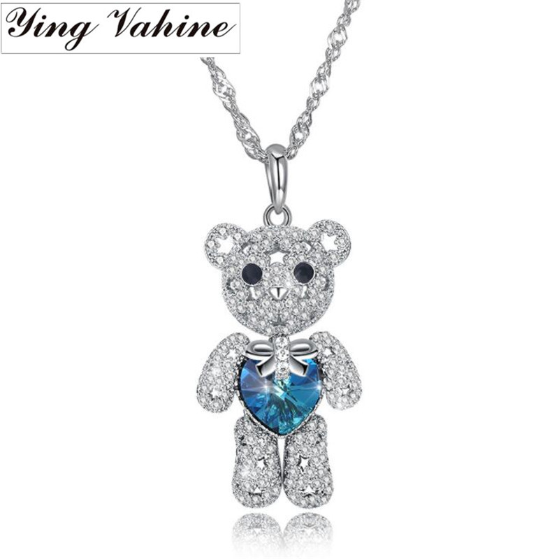 ying Vahine High grade Twinkling Crystal Necklace 925 Sterling Silver Cute Little Bear Pendant Necklace for Women Jewelry