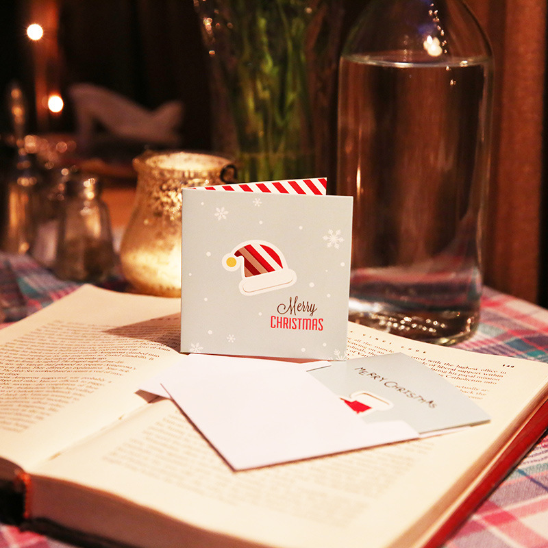 8pcs/lot Merry Christmas Mini Card Hollow Greeting Card Postcard Birthday Letter Envelope Gift Card Set Message Card