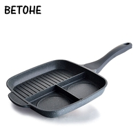 BETOHE Multifuncation Non Stick 3 in 1 Frying Pan Grill Fry Oven Meal Skillet BBQ Barbecue Plates fryer Eggs steak breakfast pan