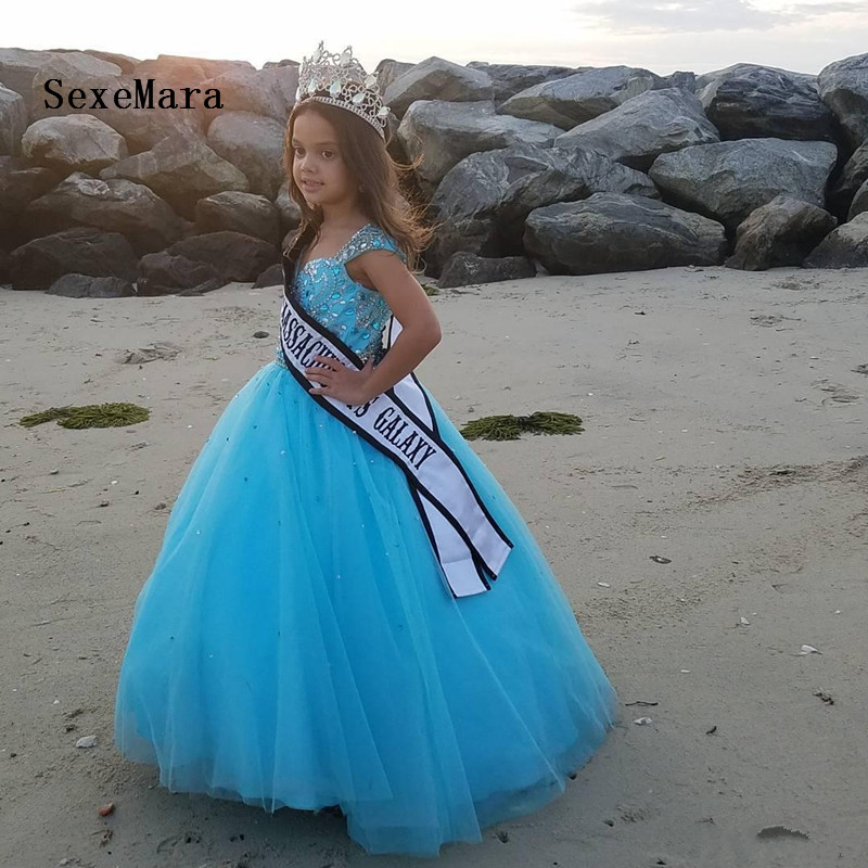 8a7d64d37c0 Luxury Shiny Crystals Little Girls Pageant Dresses Ball Gown Kids Formal  Wear Crystal Customized Party Dress Glitz Special