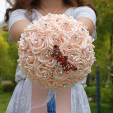 Bride Holding Flowers Romantic Wedding Bouquet with Full Diamond Pearl Ribbon Valentines Day
