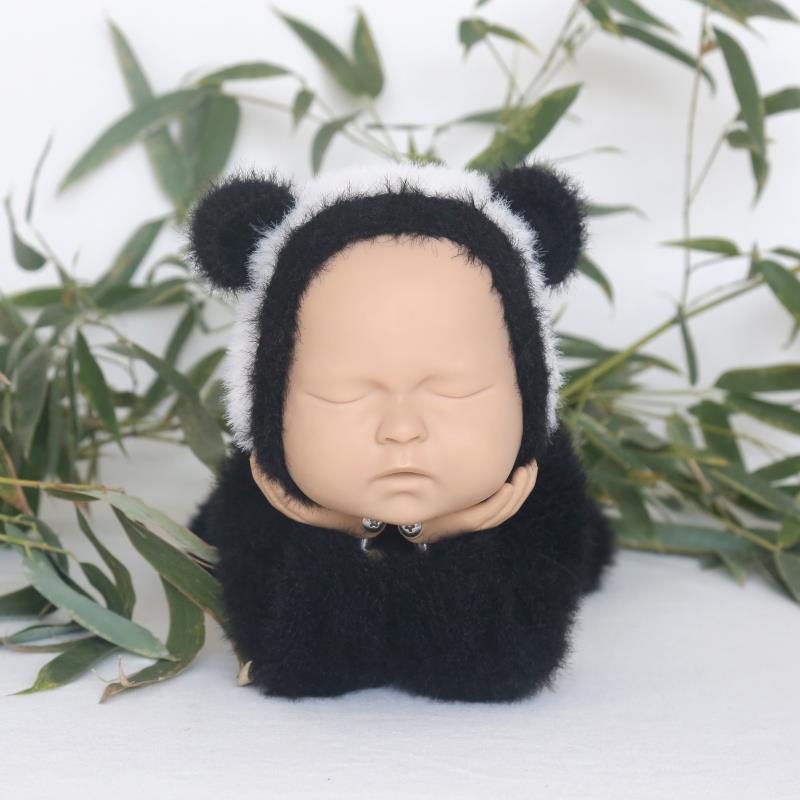 Newborn Animal Hat Knitted Fuzzy Panda Hat Baby Photography Props Cute Animal Bonnet Newborn Furry Bonnet Photo Prop Shower Gift