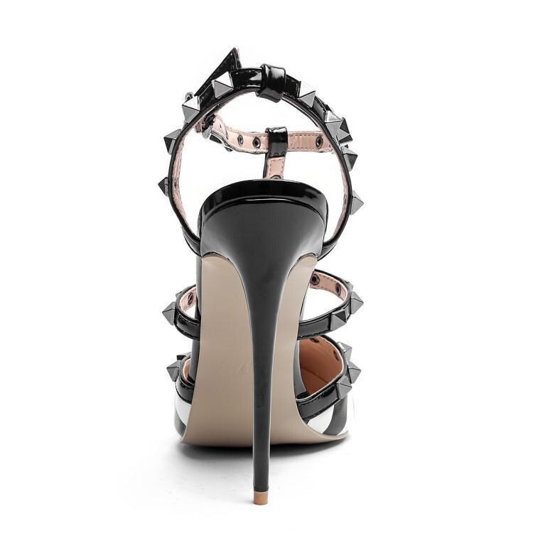 Frauen Weiß High Super Strap Nieten Heels Gingham Gladiatoren Leder Ankle Frau As T Schwarz Schuhe Zapatos Sandalen Shown Spitz dtqWzq6r