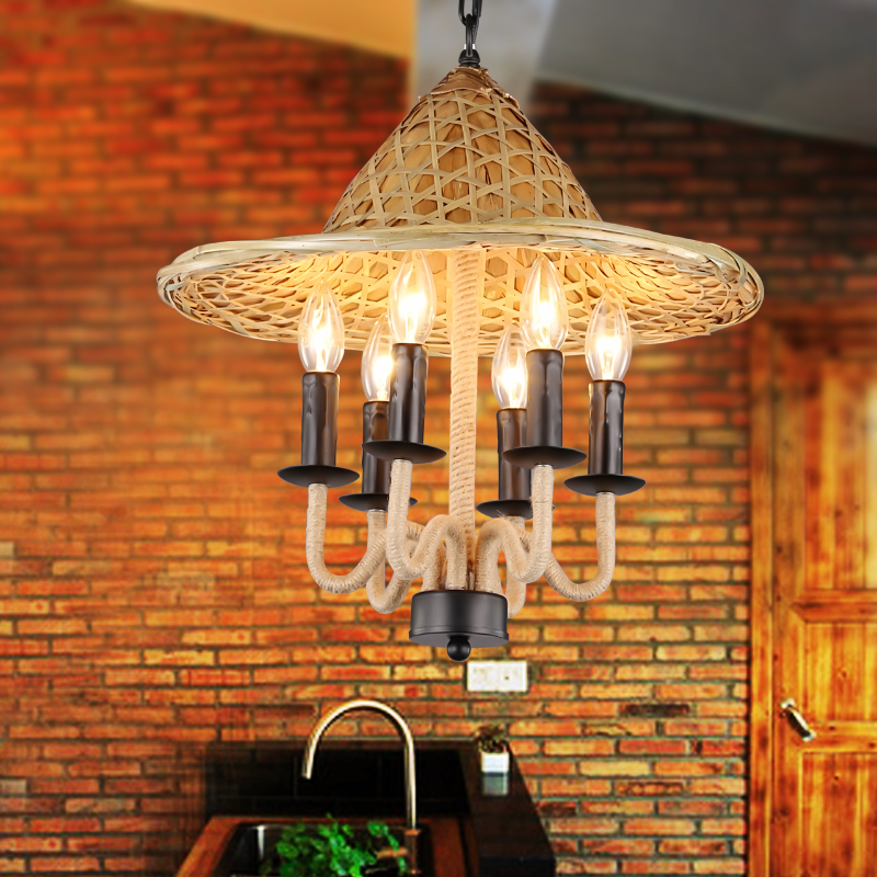Southeast Asian retro personality country hats rope iron pendant light  restaurant Bar Light Fixtures Lamparas