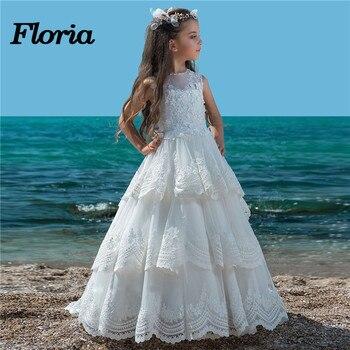 d756c496fcf Новые белые длинные для девочек в цветочек платья для свадеб 2018 Vestidos  daminha Детские пышные вечерние платья платье для первого причастия