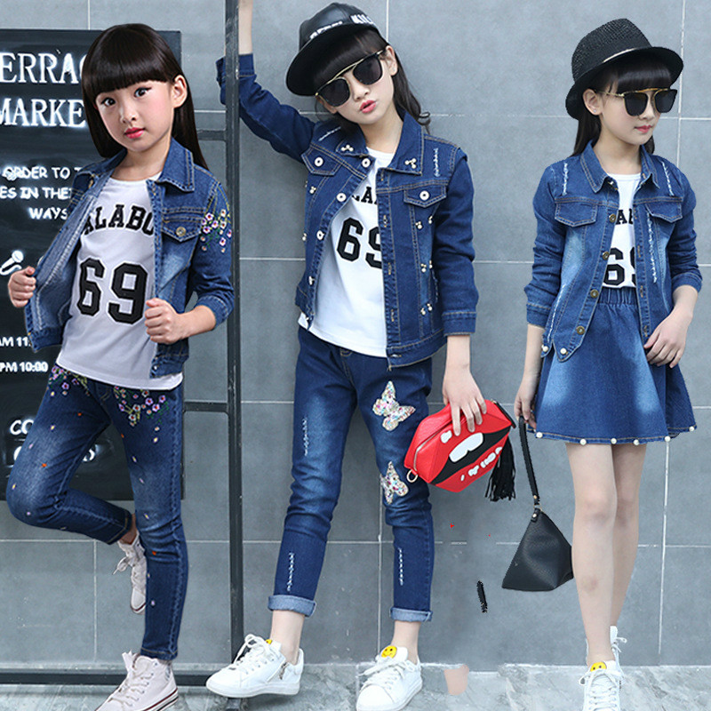 2018 Fashion Sequined Butterfly Brand Cowboy Suit Children Kids Girl Clothing Sets Denim Jacket+Jeans+Long Sleeve T shirt 3 pcs men s cowboy jeans fashion blue jeans pant men plus sizes regular slim fit denim jean pants male high quality brand jeans