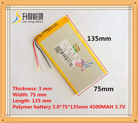 3 Wire The Tablet Battery 3 7V 4500mAH 3075135 Polymer Lithium Ion Li Ion Battery For