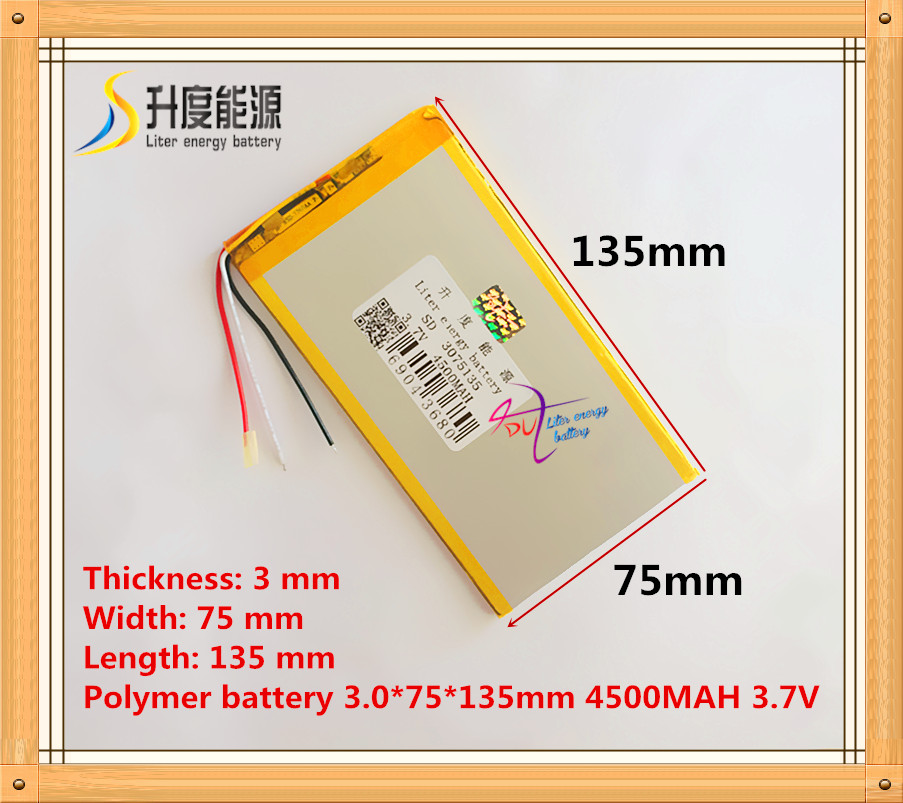3 wire The tablet battery 3.7V 4500mAH 3075135 Polymer lithium ion / Li-ion battery for tablet pc battery