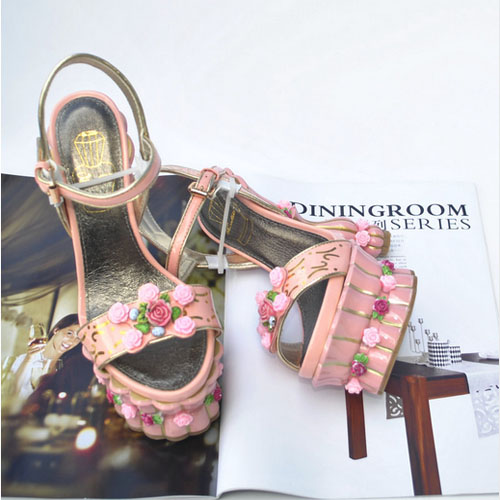 2017 Women Princess Sweet Flowerpot Abnormal High Heels Rose Flower Platform Sandals Girl'S Cake Pump Shoes For Wedding Romantic oem 100