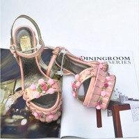 2017 Women Princess Sweet Flowerpot Abnormal High Heels Rose Flower Platform Sandals Girl'S Cake Pump Shoes For Wedding Romantic