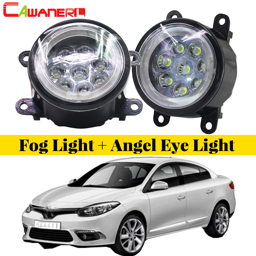 Cawanerl For Renault Fluence L30 Saloon 2010-2015 1 pair Car LED Bulb Fog Light Angel Eye Daytime Running Light DRL 12V Styling 2x for renault megane 2 saloon lm0 lm1 2003 2015 car styling ccc high power led fog lamps halogen lights