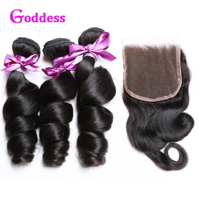 Малайзийские Виргинские Волосы Свободная Волна С Закрытием Кружева Али Moda волосы Человеческие Волосы Соткать Малазийский Свободная Волна Девственные Волосы С закрытие