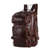 Nesitu Высококачественная серая кофейная винтажная натуральная мужской кожаный рюкзак женская настоящая кожа мужская сумка для путешествий# M7048
