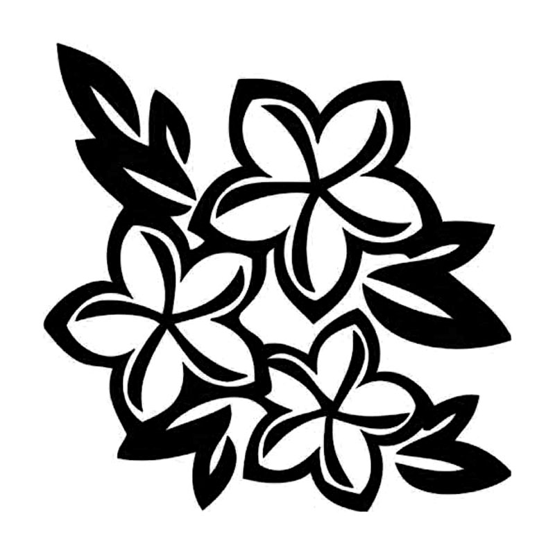 Pindia Black Flower Design Wall Sticker: 15.2*15.2CM Personality Feathers Hawaii Flower Car