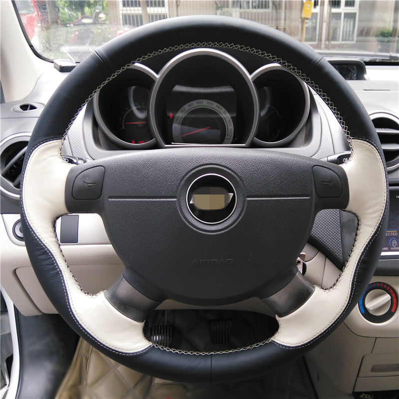 Black Beige Car Steering Wheel Cover for Chevrolet Lova Aveo Buick Excelle Daewoo Gentra 2013 2015