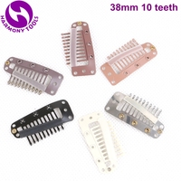 160 Pieces 38mm 10 teeth Snap Clips Silicone Coated for Hair Extension ( Black, D Brown, M Brown, L Brown, Blonde, Silver )