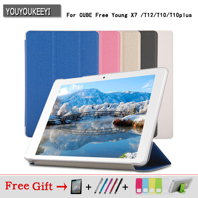 Ultra Slim PU case stand cover for Cube Free Young X7 / T12 / T10 / T10 Plus 10.1inch tablet pc  5 colors Freeshipping