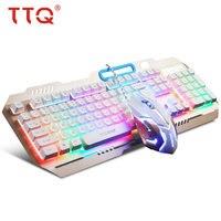TTQ USB Gaming Toetsenbord Muis Mechanische Feel Toetsenbord Set Bedrade 2000 DPI Gamer Set Gamer Profesional Set Razer Led Gaming muis-in Toetsenbord-/muissets van Computer & Kantoor op