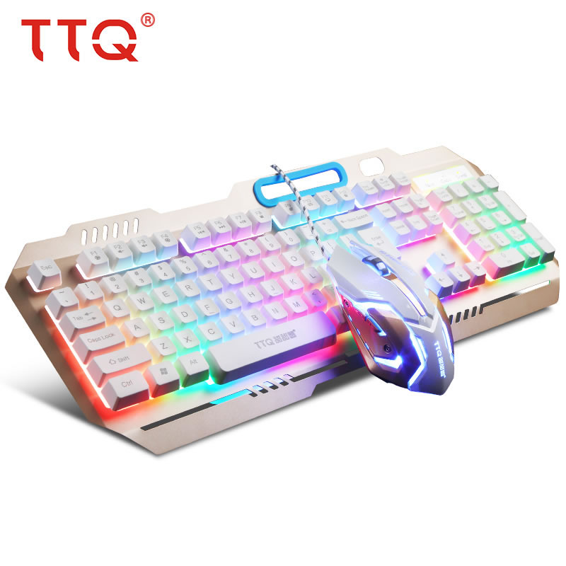 TTQ USB Gaming Keyboard Mouse Mechanical Feel Keyboard Set Wired 2000DPI Gamer Set Gamer ...