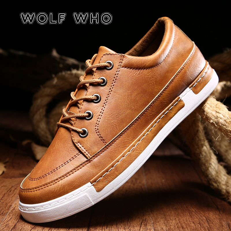 e19eced561f0 WOLF WHO 2018 Men Casual Shoes Leather Breathable Man Fashion Brand Flats  Shoe Male sneakers Lace Up Footwear Drop Shipping W046