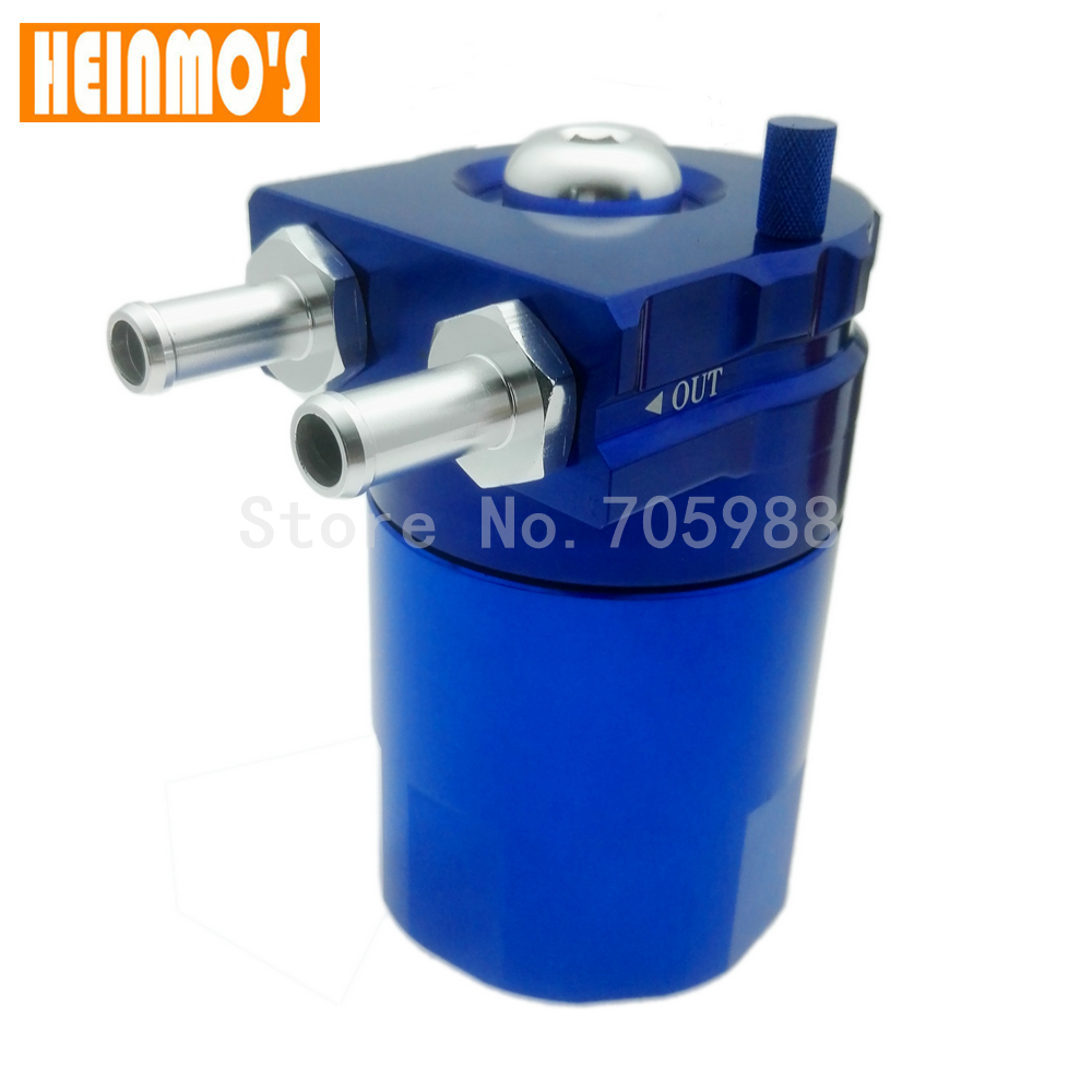 Brand New Universal Black Baffled Oil Catch Tank Can Car Racing Engine Reservoir Auto oil Breather blue red black chrome