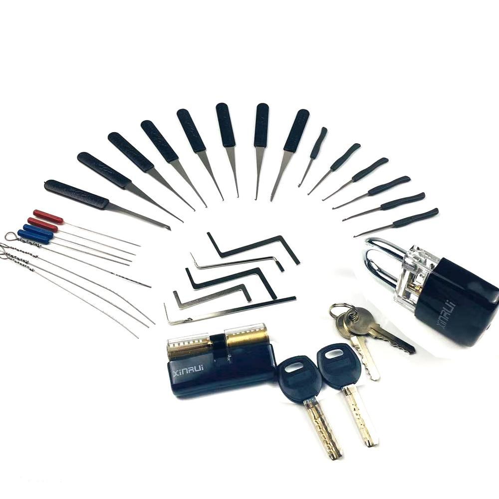 Locksmith Supply Tools Pick Set Practice Lock with Broken Key Remove Tool ,Tension Tool Combination for Locksmith Beginner