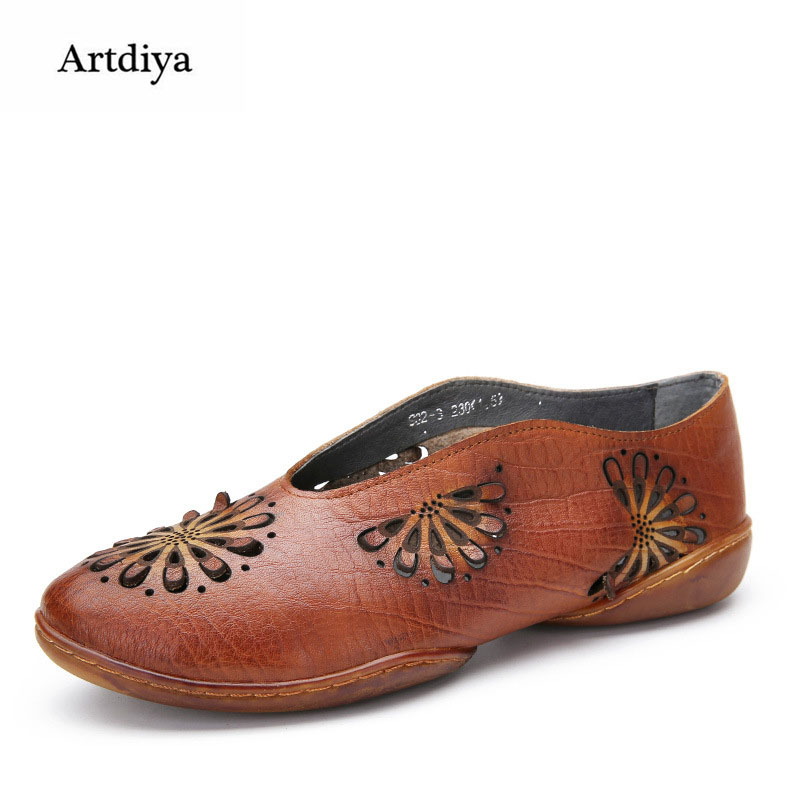 Artdiya Original 2018 New Spring and Summer Cowhide Women Shoes Retro Fashion Flower Mixed Colors Flat Leisure Shoes 902-3 2016 spring and summer free shipping red new fashion design shoes african women print rt 3