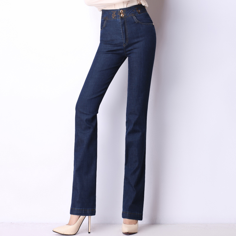 Embroidery jeans women causal denim high waist pants for women plus size straight trousers female cotton blend slimming 1230505 cotton blend denim jeans casual elastic waist plus size straight pants for women spring autumn new fashion full length jln0616