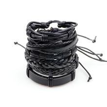 Charm Black Multilayer Braid Wrap Punk Leather Bracelet