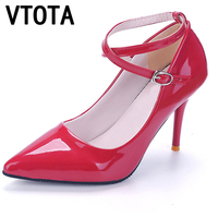 2016 Women Leather Pumps High Quality High Heels Pointed Toe Zapatos Mujer Shallow Mouth Sexy Pumps