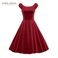 Cộng với Kích Thước Vintage Rockabilly Váy Màu Rắn Màu Xanh Lá Cây Đỏ Trắng đen Phồng Tay Áo Mùa Hè Phong Cách Big Đu Phụ Nữ Xếp Li 50 s ăn mặc
