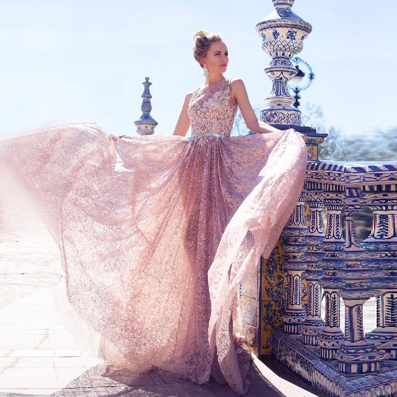 Rosado magnífico llamativo Encaje Vestido de Noche Largo con La ...